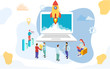 Business people working together company growth or successful rocket launch from laptop on abstract background for Startup or Teamwork concept based design.