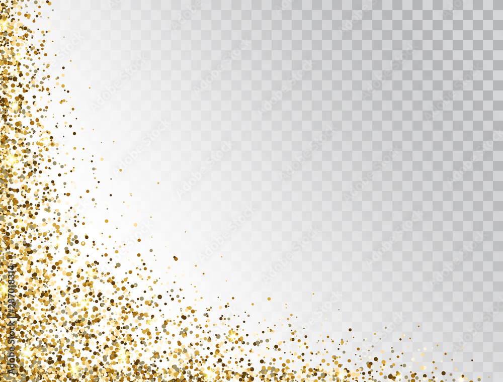Fototapety, obrazy: Glitter gold border with space for text. Golden sparkles and dust on transparent background. Luxury glitter decoration. Bright design for Christmas, Birthday, Wedding. Vector illustration