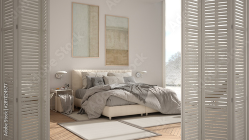White Folding Door Opening On Modern Luxury Minimalist