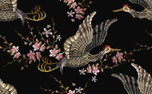 Japanese Crane Bird And Sakura Flowers Seamless Pattern. Embroidery Japan Style. Asian Ethnic Template For Clothes, T-shirt Design