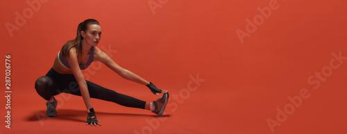 Obraz Body of stamina strength. Sportswoman having work out - fototapety do salonu