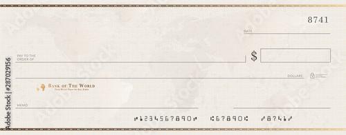 Fototapeta Blank bank golden cheque template. Check from checkbook obraz