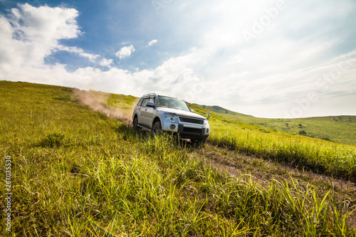 Cuadros en Lienzo  Japanese SUV goes down the hill