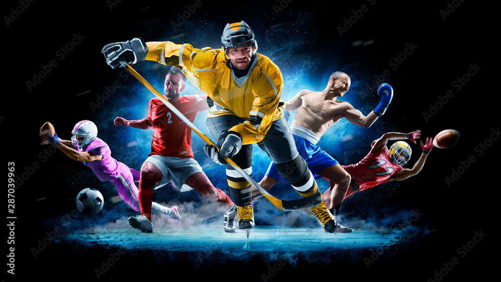 Fototapety, obrazy: Multi sport collage football boxing soccer ice hockey on black background