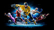 canvas print picture - Multi sport collage football boxing soccer ice hockey on black background