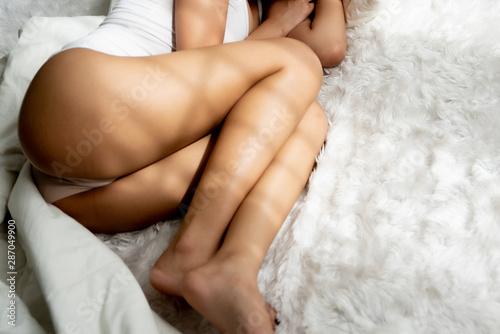Deurstickers Ontspanning Close up woman sleeping in bed.