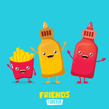 Funny Cartoon Cute Smiling Ketchup Bottle, Mustard Bottle And Potatoe French Fries Characters Set . Food Flat Funky Character. Best Friends Or Friendsip Concept