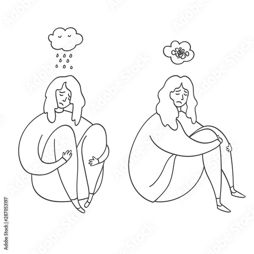 Upset And Depressed Women Hug Legs Set Of Sad And Depressed Girls Sitting Heartbreak And Sad Doodle Women Concept Of Stress Sadness Depression Metaphor Isolated On White Background Outline Buy This