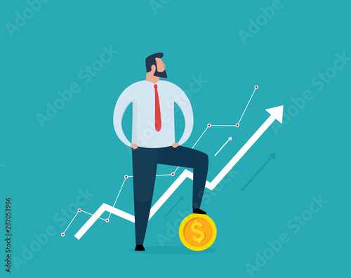 Fototapeta Businessman is standing with a gold coin and on growth charts. Finance and economy profit concept. Vector illustration. EPS 10. obraz