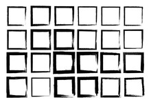 Set Of Vector Squares With Irregular Stroke. Rough Brush Strokes. Different Thickness Of Drawn Lines.