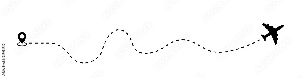 Fototapeta Airplane dotted route line the way airplane. Flying with a dashed line from the starting point and along the path - stock vector.