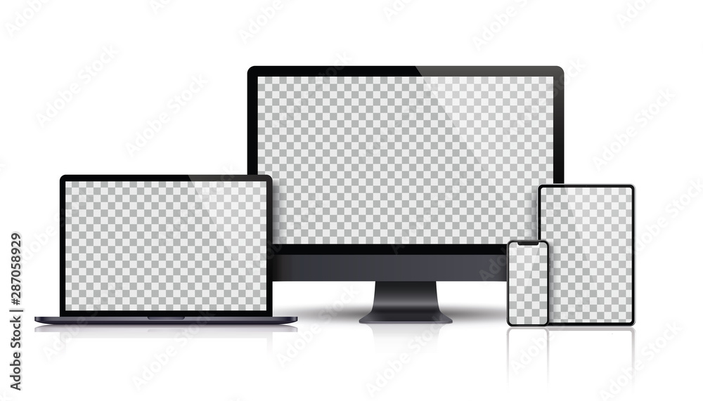 Fototapeta Realistic set of Monitor, laptop, tablet, smartphone dark grey color - Stock Vector.