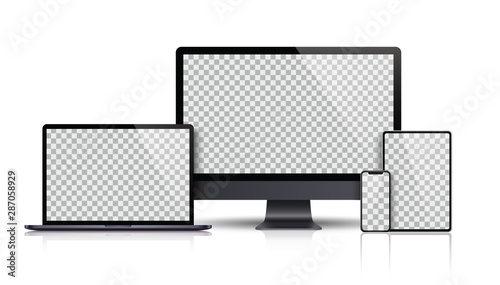 Realistic set of Monitor, laptop, tablet, smartphone dark grey color - Stock Vector.