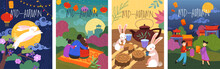 SetSet Of Four Colorful Cartoon Mid-Autumn Poster Designs Depicting A Leaping Rabbit, Bunnies Tea Party, And Family With Glowing Paper Lanterns In An Asian Landscape, Vector Illustration