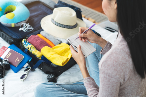 Preparing suitcase for summer vacation trip Wallpaper Mural
