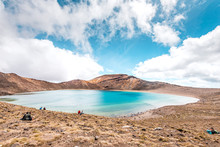 Tongariro Alpine Crossing, Hike Through The Tongariro National Park Along The Emerald Lakes And The Blue Lake, New Zealand