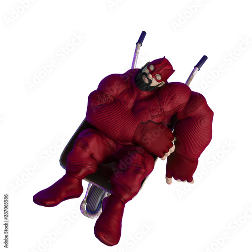 super hero cartoon with beard on suit is sleeping in wheelbarrow top view