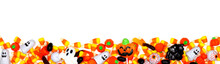 Halloween Candy Long Border. Top View Isolated On A White Background.