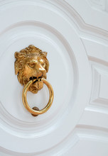 Door Knocker With Lion. Wooden...