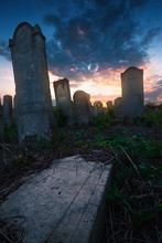 Sunset In Old Cemetery