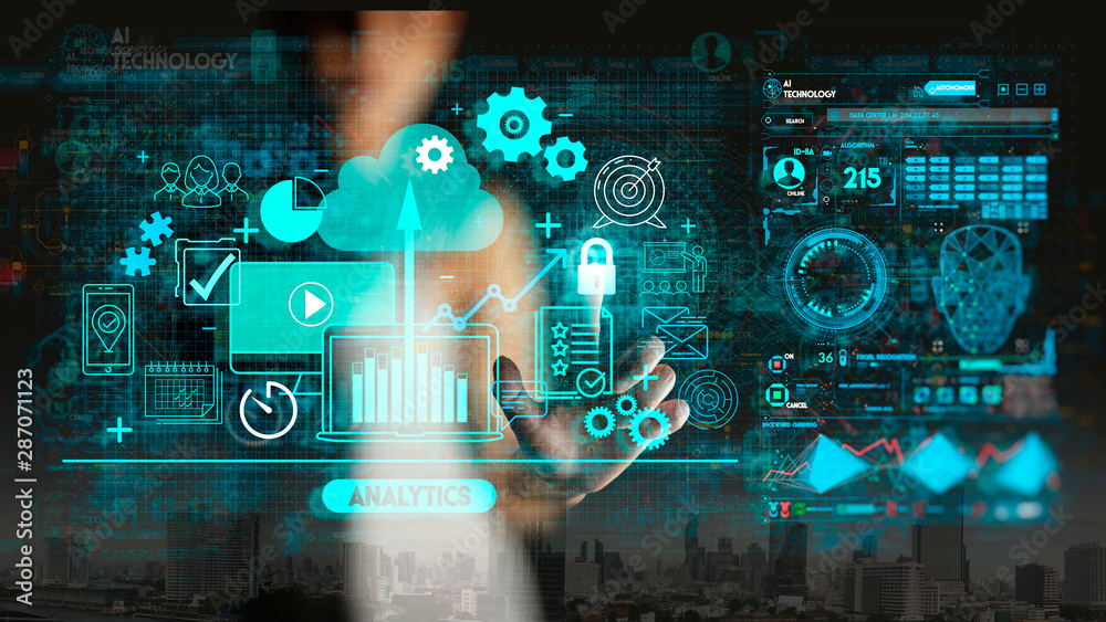 Fototapeta Hand touching Business data analytics process management with KPI financial charts and graph and automated marketing dashboard.