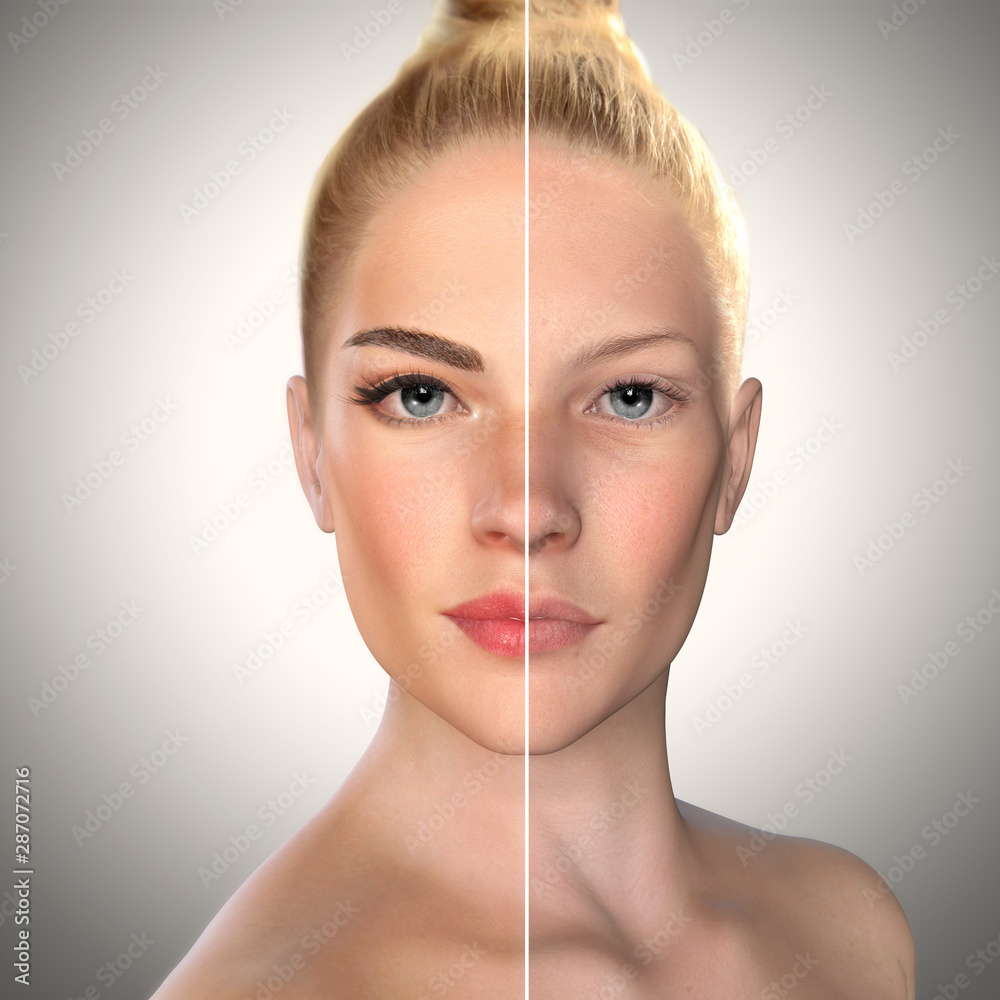 Fototapeta 3d beauty comparison face before and after, Eyebrow microblading,permanent makeup,lip fillers - obraz na płótnie