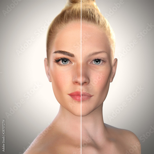 Fototapeta 3d beauty comparison face before and after, Eyebrow microblading,permanent makeup,lip fillers obraz na płótnie