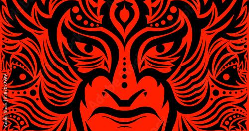 Tribal Eyes Mask Face vector illustration, Tattoo style Warrior. Wallpaper Mural