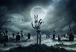 canvas print picture - Skeleton Zombie Hand Rising Out Of A GraveYard - Halloween