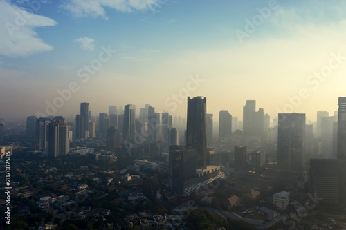 Fototapety, obrazy: Jakarta city with air polluted at dawning time