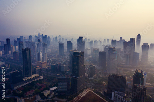 Jakarta city with air pollution at morning