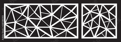 Fototapeta Laser cutting template for decorative panel. Abstract triangle pattern. Vector illustration. obraz