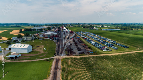 Fototapeta  Aerial View of Train Yard Waiting for Trains