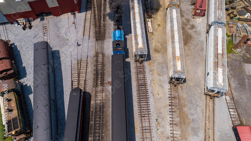 Fototapeta  Aerial View of Train Yard Waiting for Thomas