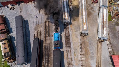 Fotografie, Obraz Aerial View of Train Yard Waiting for Thomas