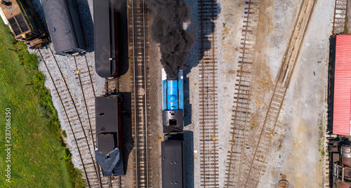 Obraz na plátně  Aerial View of Train Yard Waiting for Thomas