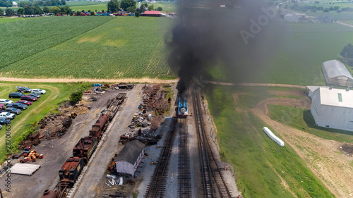 Fotografie, Obraz  Aerial View of Train Yard Waiting for Thomas