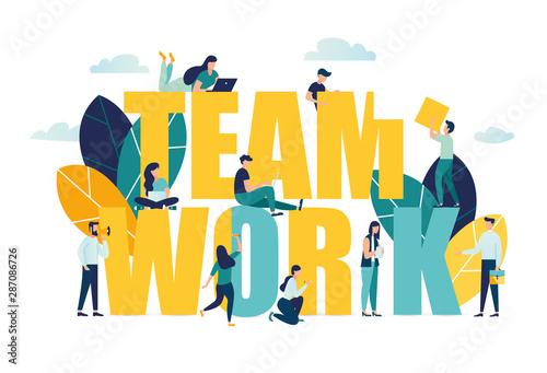 Fotomural  Vector business illustration, businessmen together build word teamwork, abstract