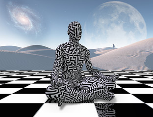 Fototapeta Orientalny Meditation on a chessboard
