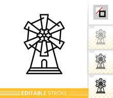 Windmill Mill Farm Simple Thin Line Vector Icon