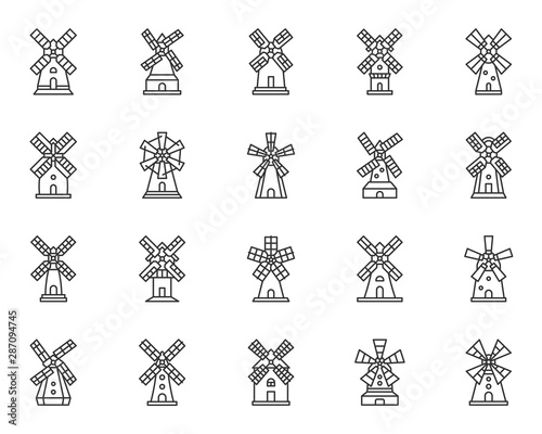 Windmill mill farm simple line icon vector set Poster Mural XXL