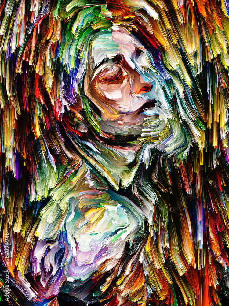 Colorful Abstract Portrait Painting.