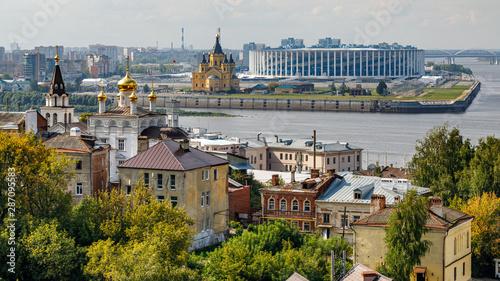 Photo sur Aluminium Con. Antique Nizhny Novgorod, Russia. Panoramic view of Nizhny Novgorod. The confluence of the Oka and Volga rivers. The historical part of the city. Embankment of Nizhny Novgorod.