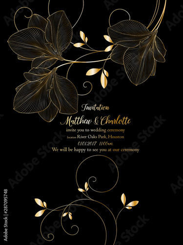 Photo Beautiful romantic golden floral background with amaryllis flowers