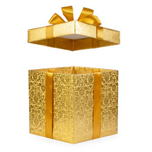 Open Gold Gift Box Isolated On White Background