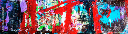 Abstract art & multicolor paint; as a fun & inspirational background texture, with grunge patterns - in a wide and long panorama / banner / design Wallpaper Mural
