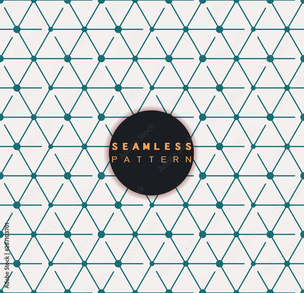 Fototapeta Vector seamless pattern. Repeating geometric tiles with linear cube and hexagon grid.  Modern stylish texture and trendy graphic design.