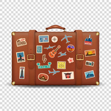 Vector 3d Realistic Retro Leather Brown Threadbare Suitcase And Travel Stickers, Metal Corners And Belts Icon Closeup Isolated On Transparent Background. Vacation Concept. Vintage Trip Bag. Front View
