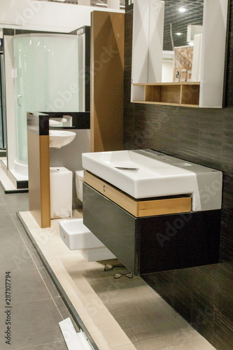 Picture of ceramic wash basin with chrome tap in bathroom fitment store Fototapete
