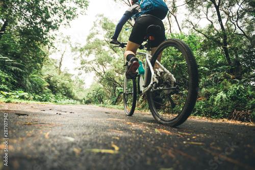Woman cyclist riding mountain bike on tropical rainforest trail Canvas Print